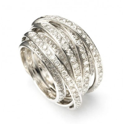 Anello Tibet in oro bianco e diamanti bianchi