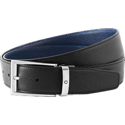 Cintura elegante nera/indaco reversibile cut-to-size