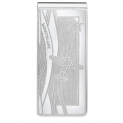 Fermasoldi in acciaio pregiato con aeroplano inciso