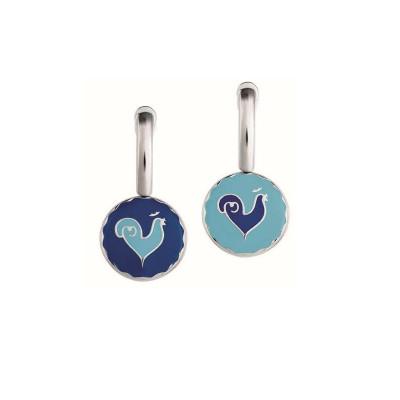 Orecchini con Galletto in argento e smalto blu e azzurro
