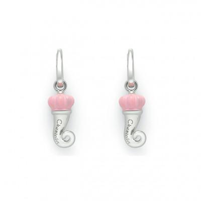 Orecchini cornetto in argento e testa in smalto rosa