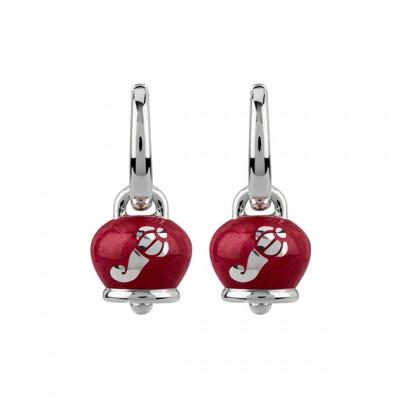 Orecchini Campanella con Cornetti in argento e smalto rosso perlato