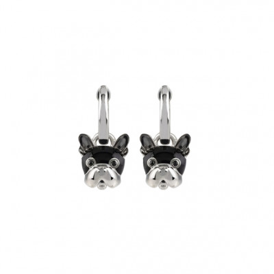 Orecchini cane micro in argento, smalto nero e spinello nero