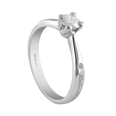 Anello Virginia solitario oro bianco e diamante ct. 0.15 G SI