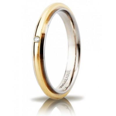 Fede Andromeda slim oro bicolore con brillante 3mm