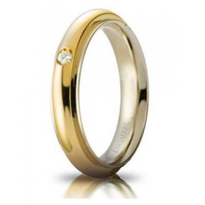 Fede Andromeda slim oro bicolore con brillante ct 0.03  4.2mm