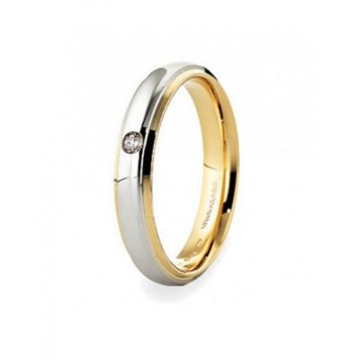 Fede Cassiopea slim oro bicolore brillante ct. 0.03