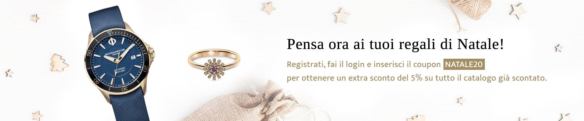 Gioelleria Pivano - Regali di Natale, registrati ed inserisci il coupon NATALE20, extra sconto 5%